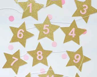 Photo banner garland - pink and gold stars