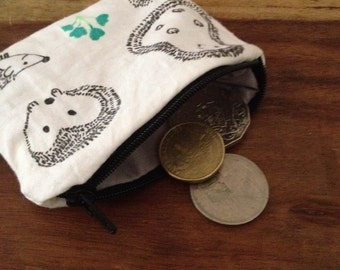 Coin Purse - HandPrinted Purse - Purse - Hedgehog Print Coin Purse