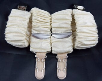 Pair of Detatchable Silk Covered Suspenders - Cream and Silver