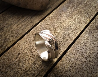 Handmade Pattern Matt/Polished 9k White Gold Men's Wedding/Engagement/Anniversary/Designer Ring