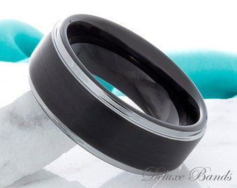 Black Tungsten Wedding Band Mens Tungsten Ring 8mm Brushed Stepped Edge Two Tone Tungsten Anniversary Promise Ring Couple Ring Comfort Fit