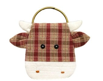 Cute Cattle Key Bag Purse Sewing Kit  Fabric Craft Set to Sew