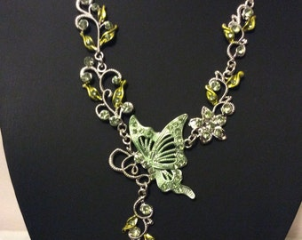 Vintage 1970's  Butterfly enamel and crystal green necklace