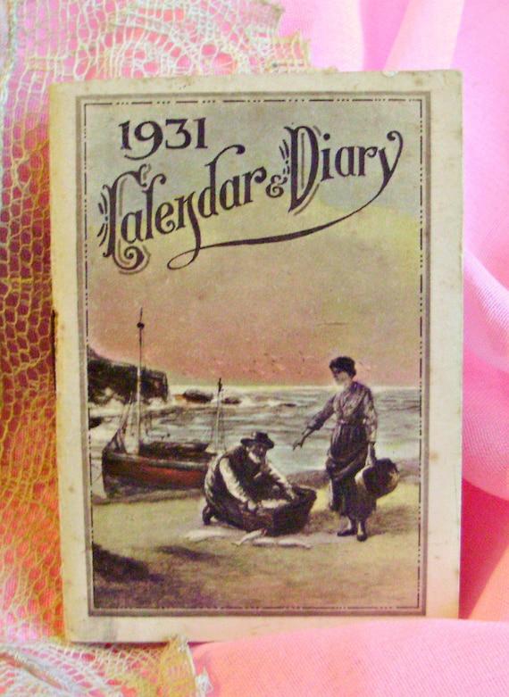 Antique MINIATURE 1931 ALMANAC Calendar Diary Note by ...
