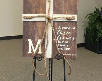 A cord of three strands is not easily broken wedding wood sign, 3 sizes available