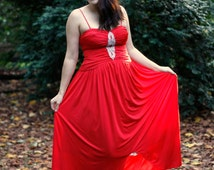 RESERVED FOR JULIA // 1980's vintage red formal gown with sequins and full skirt