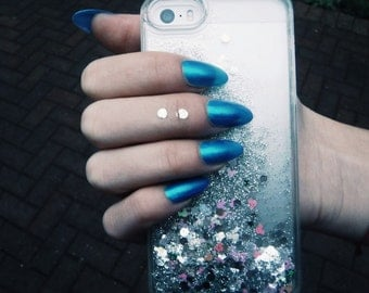 Silver Glitter Shaker Waterfall Shiny Sparkly Pink Phone Case for iPhone 5/5S