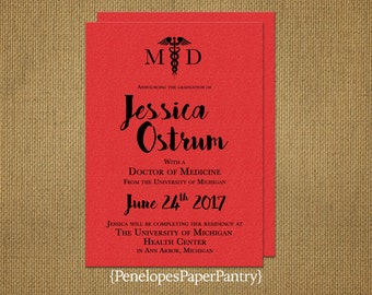 Elegant Medical School Graduation Announcement,Invitation,Black and Red Shimmer,Medical Degree,Opt Back Print,Customizable With Envelopes