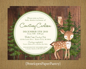 Woodland Theme Gender Neutral Baby Shower Invitation,Woodland Animals,Forest,Barn Wood,Book Poem,Personalize,Printed Invitations,Envelopes