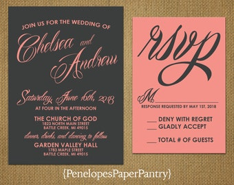 Elegant Gray and Coral Wedding Invitations,Sophisticated Script Design,Traditional,Simple, Opt RSVP Card,Customizable With White Envelopes.