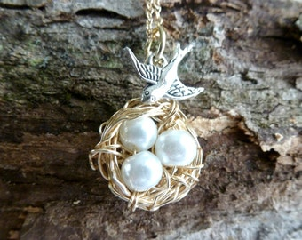 Gifts for Her Mom Gifts Wire Wrapped Bird Nest Necklace Whimsical Necklace