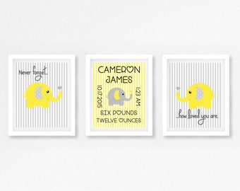Elephant Nursery Art, Grey and Yellow Wall Art, Gender Neutral Nursery Decor, Birth Announcement Art, Yellow Grey Wall Art, New Baby Gift