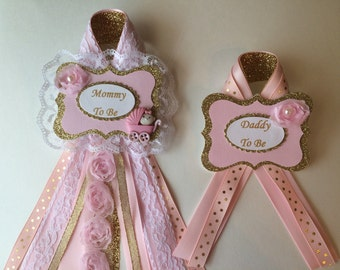 Pink and gold baby shower corsage set/Mommy and Daddy to be corsage set for Girl Baby Shower/Pink and gold baby shower/Chic Mommy to be pin