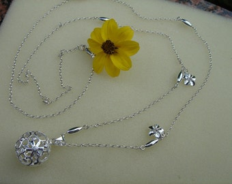 925 Silver Chain floral design! Pretty long!