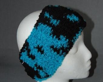 Teal & Black Crochet Earwarmer Headband ~ Adult