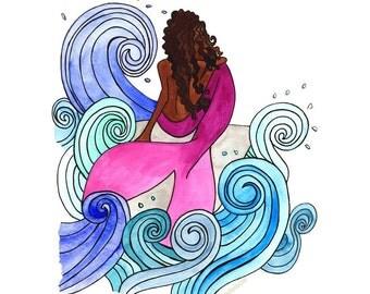 Mermaid Watercolor Art Print   Wall Art   Gifts for Her   Nursery Decor   Wall Art   Black Art   Home Decor   Children's Room   Mermaids