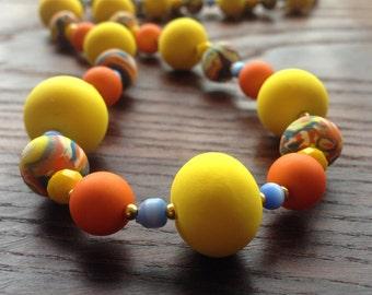 Remedy - Bright Yellow and Orange Unique Statement Necklace