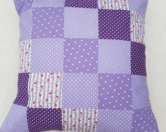 Patchwork Handmade pretty purple patchwork cushion