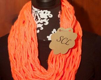 Neon Orange Knit Infinity Scarf