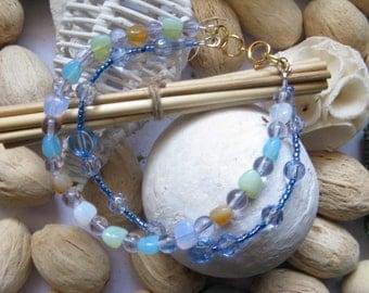 Beaded Bracelet  Blue Green Coloured Double Strand Boho Bracelet, Colourful Bead Bracelet