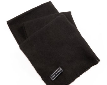 Midnight Black 100% Cashmere Scarf for Men