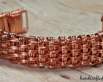 Copper  Basket Weave Cuff Bracelet