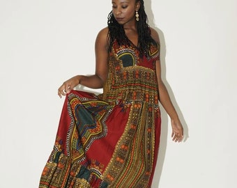 Long Halter Traditional Dashiki print dress