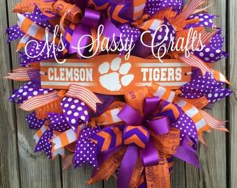 Clemson Tigers Wreath - Clemson Deco Mesh Wreath - Clemson Wreath - Clemson Decor - Clemson University Wreath