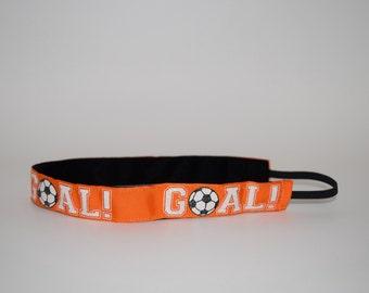 Orange Soccer Headband- Soccer Headband- Sport Headband= 7/8 inch headband- no slip headband- soccer- Goal Orange Soccer Headband
