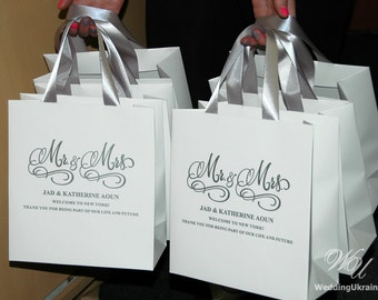 Wedding welcome bags etsy mr mrs wedding welcome bags with satin ribbon and your names elegant personalized destination junglespirit Image collections