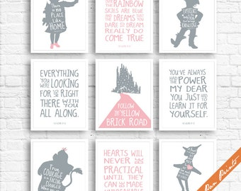Wizard of OZ Quotes and Characters - Set of 9 Art Prints (Unframed) (Featured on Pink and Grey) Kids Room Art Prints