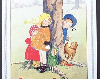 """Vintage Nursery Print """"Peep-Bo Peep-Bo"""" by Dorothy Rees"""