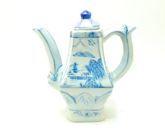 Oriental blue and white teapot