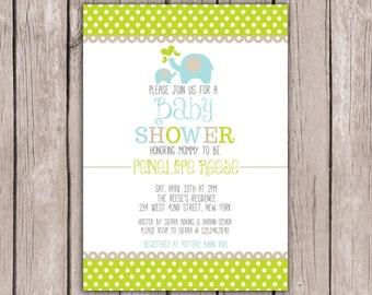 PRINTABLE- Elephant Baby Shower Invite- Baby Shower Invite- Boy Baby Shower Invite- Shower Invite- 5x7 JPG