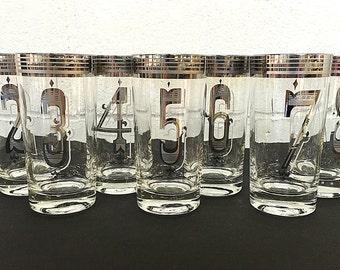Silver Platinum Numbered Highball Glasses Tumblers Vintage Retro Barware Set of 7
