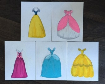 SET OF 3 Disney Princess Dresses on 8 x 10 Canvas Boards Made to Order