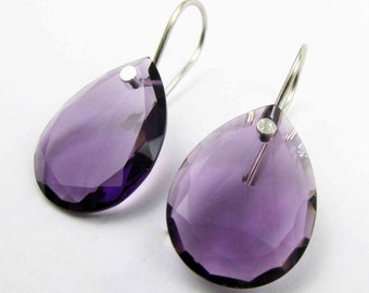 Amethyst Rose Cut Earrings. Flat Side Earring. Amethyst Earring. Amethyst Earring. Amethyst Dangle Earring. Sterling Silver Earring