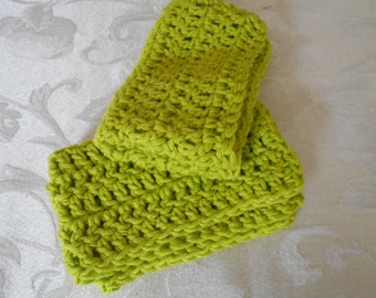"""Set of Two Hand Crocheted Lime Green Washcloth,Dishcloth, Facecloth 10"""" by 7 1/4"""" ( One Price Buys Two)"""