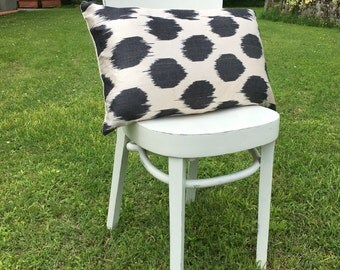 wooden chair 60s restored and colored in white and gray shabby chic style and finished in wax