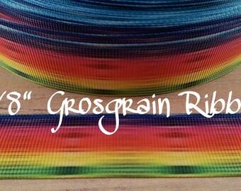 "fun bright rainbow striped print 7/8"" Grosgrain Ribbon, striped rainbow ribbon, craft supply,hairbow supply, lanyard supply"