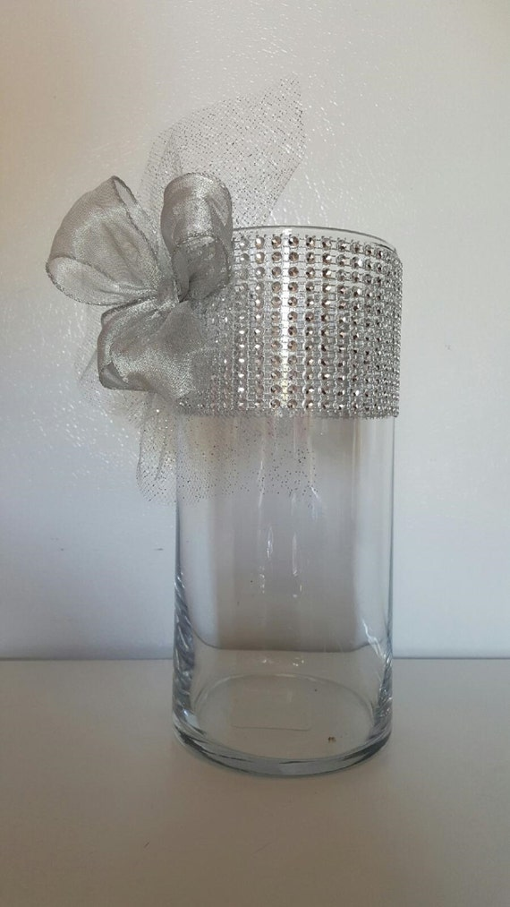 Rhinestone Organza And Ribbon Vases Wedding Centerpiece Bridal