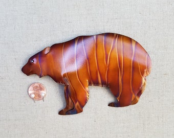 Bear, flame painted copper, wall hanging