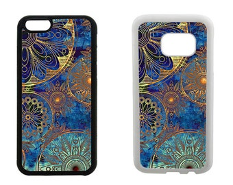 Rubber bumper phone case, iPhone 7, 6, 6S, Plus, SE, 5C, 5S, 4S, Samsung Galaxy S7, S6, Edge, S5 S4 Mini, blue Mandala vintage cover. R223