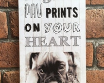 Handmade Wooden Personalised Rescue Dogs leave paw prints on your heart Love Photograph Plaque Great Unique Photo Gift Present