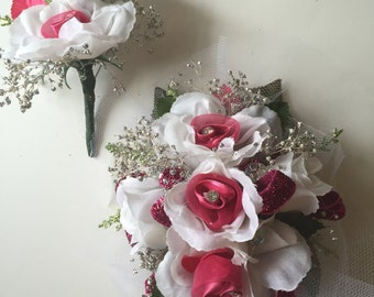 Prom, Homecoming White Rose Wrist Corsage, Wedding, Bridal Shower, Baby Shower Corsage, Pink and White Wrist Corsage