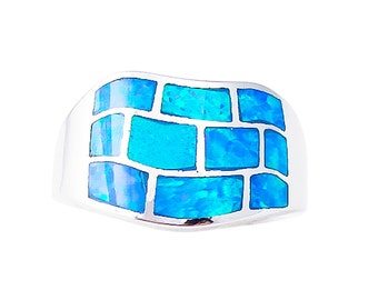 Blue Fire Opal Silver Inlay Ring Size 6