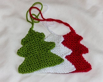 Knitted Christmas Tree Decorations set of 3