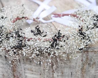 Dried Baby's Breath Crown, Floral Wreath, Wedding Accessories, Flower Girl