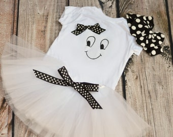 Girl Ghost Outfit - Ghost Halloween Costume - Halloween Ghost shirt for Toddler or Girls - Optional tutu and bow - Polka Dot Ghost