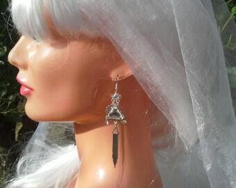 Silver art deco earrings.